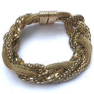 Jewelry - Gold Tone Cable Mesh Net Braid Bracelet
